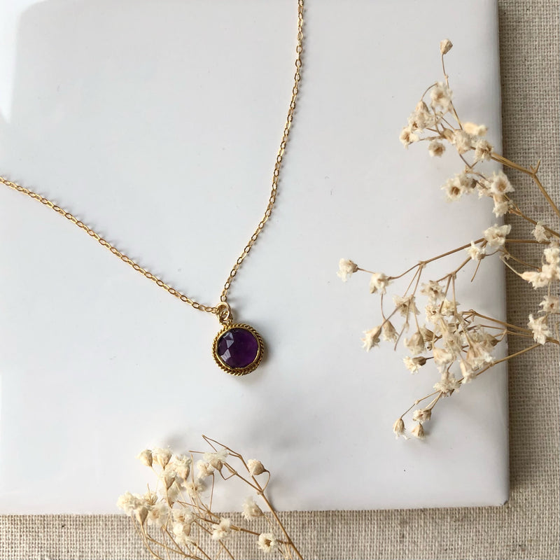 AMETHYST CELESTIAL NECKLACE GOLD FILL