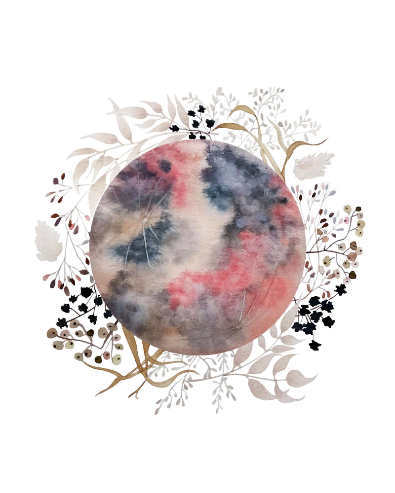 PINK MOON WITH DRIED FLOWERS GREETING CARD