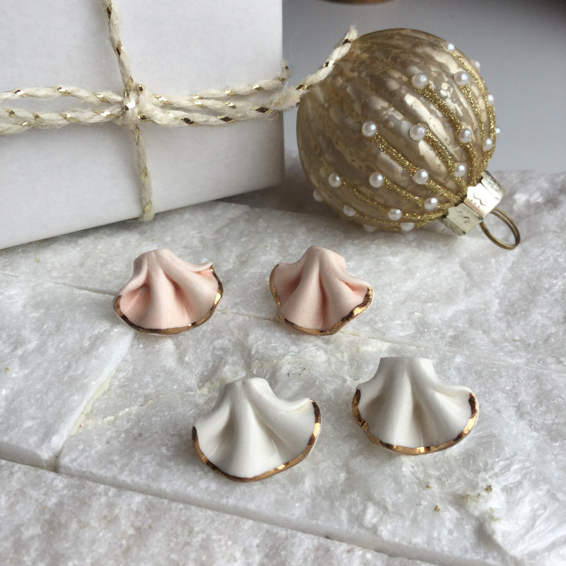 HANDMADE PORCELAIN SEASHELL EARRINGS SMALL