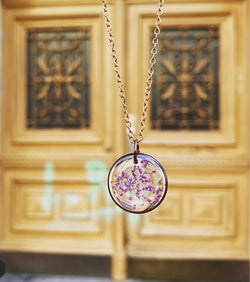 Circle Copper Necklace Purple Wildflower