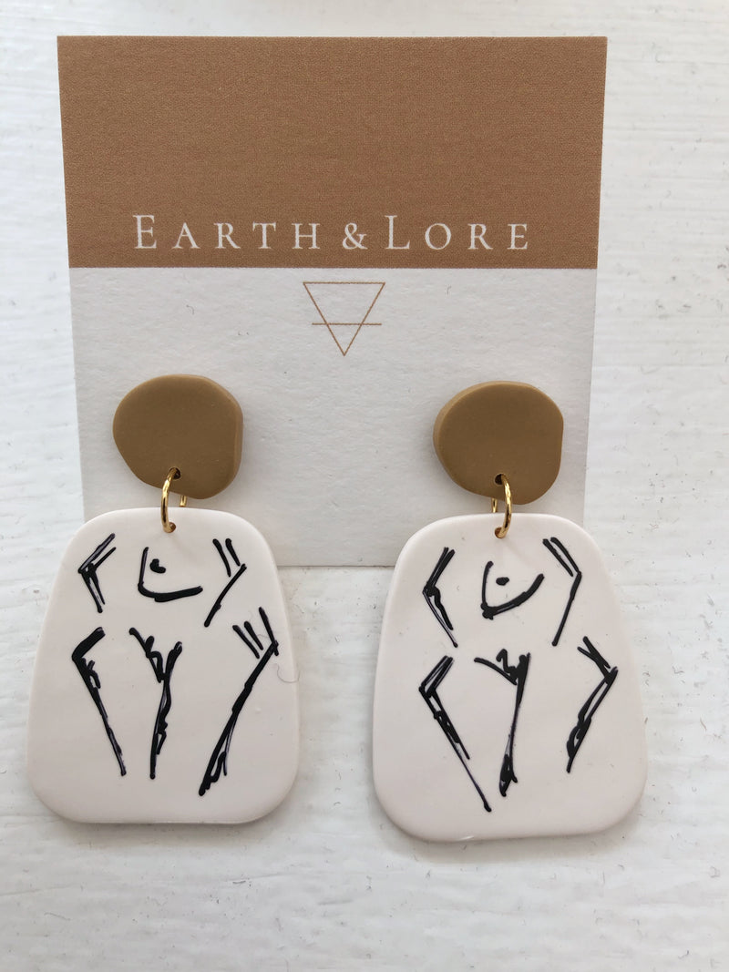 FIGURE DRAWING CLAY EARRING