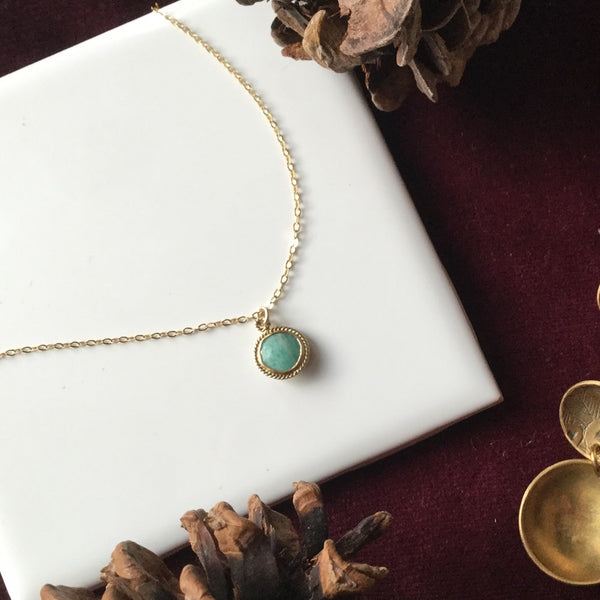 RUSSIAN AMAZONITE CELESTIAL NECKLACE GOLD FILL
