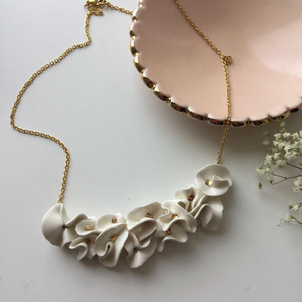 HANDMADE PORCELAIN FLOWERY NECKLACE IVORY AND GOLD