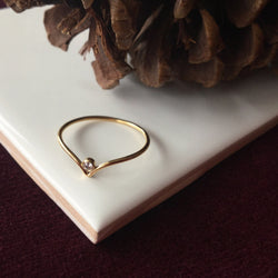CHEVRON CZ STACKING RING
