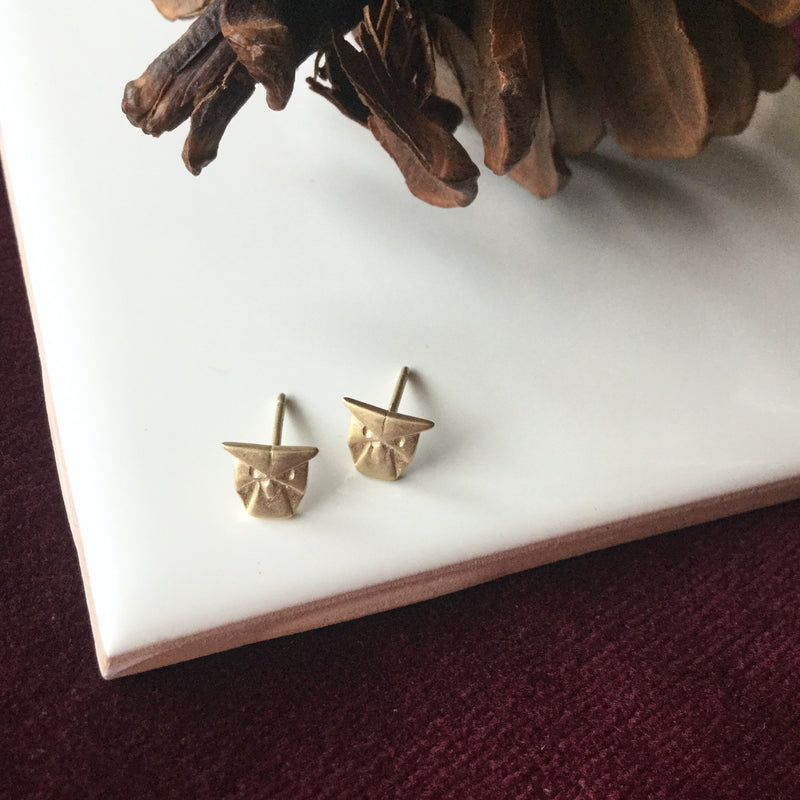 OWL ORIGAMI STUD GOLD VERMEILLE