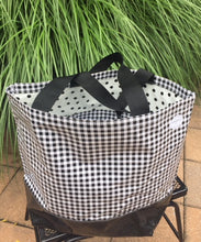 sarahjane oilcloth beach bag black gingham with black glitter bottom