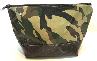 sarahjane ellie glitter cosmetic case camo with black glitter bottom