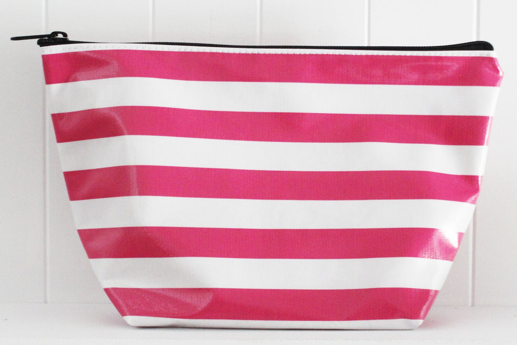 sarahjane cosmetic bag pink stripe