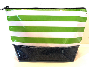 sarahjane ellie glitter cosmetic case green stripe with black glitter bottom