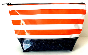 sarahjane ellie glitter cosmetic case orange stripe with black glitter bottom