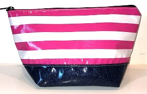 sarahjane ellie glitter cosmetic case pink stripe with blue glitter bottom