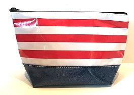 sarahjane ellie glitter cosmetic case red stripe with black glitter bottom