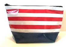 sarahjane ellie glitter cosmetic case red stripe with blue glitter bottom