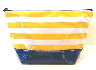 sarahjane ellie glitter cosmetic case yellow stripe with blue glitter bottom