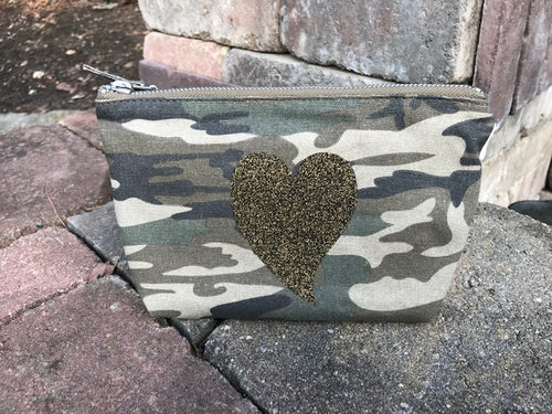 Quilted Koala small cosmetic Camo Green makeup bag