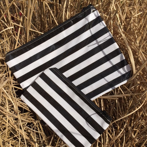 sarahjane flat zip pouch yellow stripe