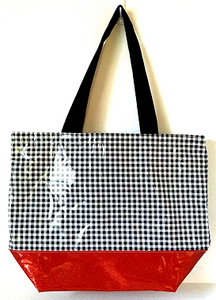 sarahjane oilcloth large glitter tote black gingham with red glitter bottom