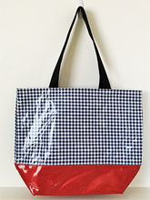 sarahjane oilcloth zip top tote with glitter bottom navy gingham stripe with red glitter bottom