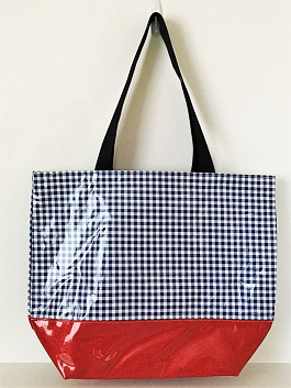 sarahjane oilcloth large glitter tote navy gingham with red glitter bottom