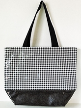 sarahjane oilcloth large zip top tote glitter bottom black gingham with black glitter bottom