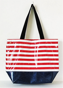 sarahjane oilcloth large glitter tote red stripe with blue glitter bottom