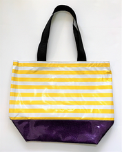 sarahjane oilcloth large zip top tote with glitter bottom yellow stripe tote purple glitter botteom