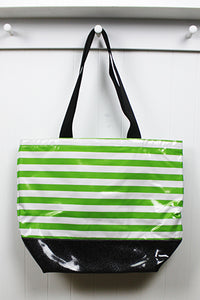 sarahjane oilcloth beach bag lime stripe with black glitter bottom