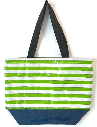 sarahjane oilcloth beach bag lime stripe with blue glitter bottom