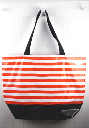 sarahjane oilcloth beach bag orange stripe with black glitter bottom