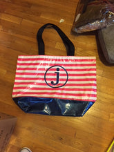 sarahjane oilcloth beach bag pink stripe with blue glitter bottom