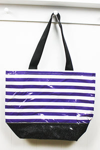 sarahjane oilcloth beach bag  purple stripe with black glitter bottom