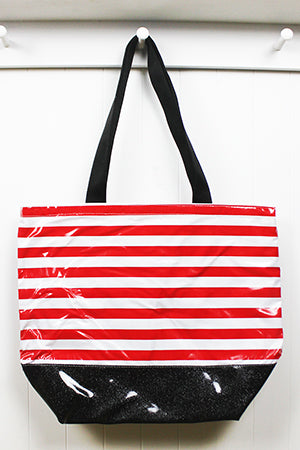 sarahjane oilcloth beach bag red stripe with black glitter bottom