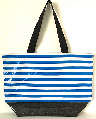 sarahjane oilcloth beach bag royal stripe with black glitter bottom