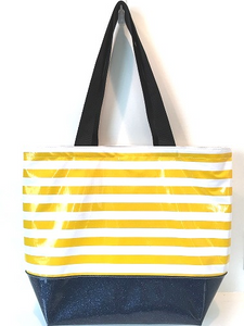 sarahjane oilcloth beach bag yellow stripe with blue glitter bottom