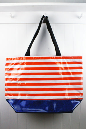 sarahjane oilcloth zip top tote with glitter bottom orange stripe with blue glitter bottom