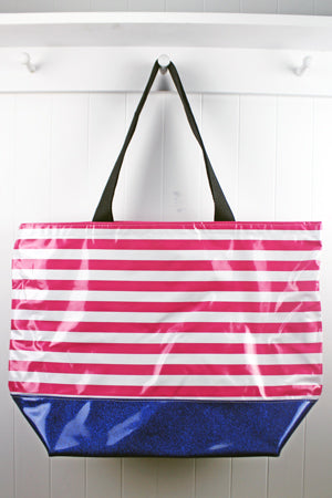 sarahjane oilcloth large zip top tote glitter bottom pink stripe with blue glitter bottom