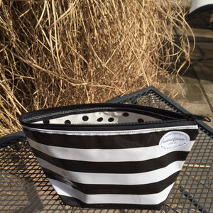 sarahjane cosmetic bag black stripe
