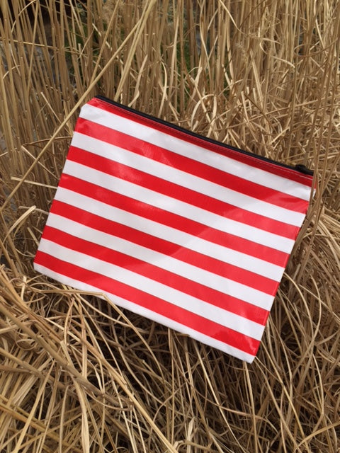 sarahjane flat zip pouch red stripe