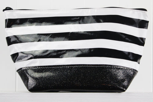 sarahjane ellie glitter cosmetic case black stripe with black glitter bottom