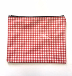 sarahjane flat zip pouch red gingham