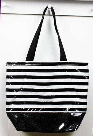 sarahjane oilcloth large zip top tote glitter bottom black stripe with black glitter bottom