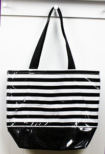 sarahjane oilcloth large glitter tote black stripe with black glitter bottom