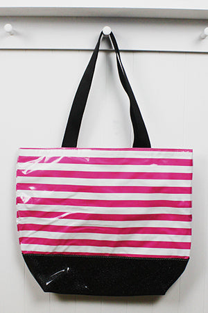sarahjane oilcloth large zip top tote glitter bottom pink stripe with black glitter bottom