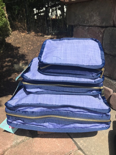 OHMINT Stacking Set Packing Squares Navy Chambrey