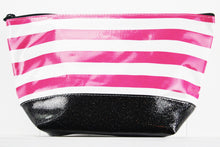 sarahjane ellie glitter cosmetic case pink stripe with black glitter bottom