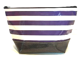 sarahjane ellie glitter cosmetic case purple stripe with black glitter bottom