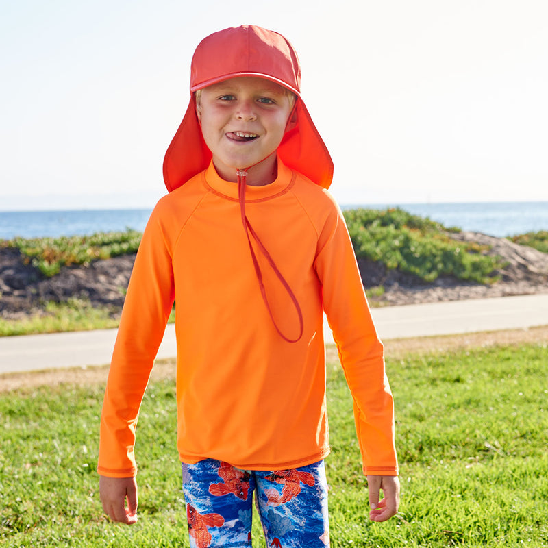 Kids Orange Legionnaire Sun Hat Upf 50 Size S Xl Boys Girls Unisex Front View Boy Wearing Orange Hat Sticking His Tongue out Sunpoplife