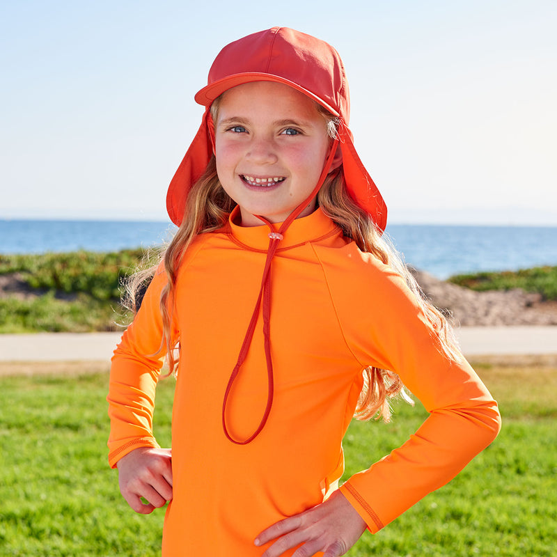 Kids Orange Legionnaire Sun Hat Upf 50 Size S Xl Boys Girls Unisex Left View Girl Wearing an Orange Hat on a Sunny Day Sunpoplife