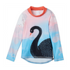 Swan Long Sleeve Rash Guard Top Upf50 Kids Girls Size 2 12 Aqua Black White Peach Sunpoplife