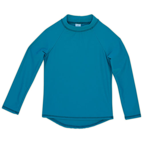 Teal Kids Long Sleeve Rash Guard Top UPF 50+